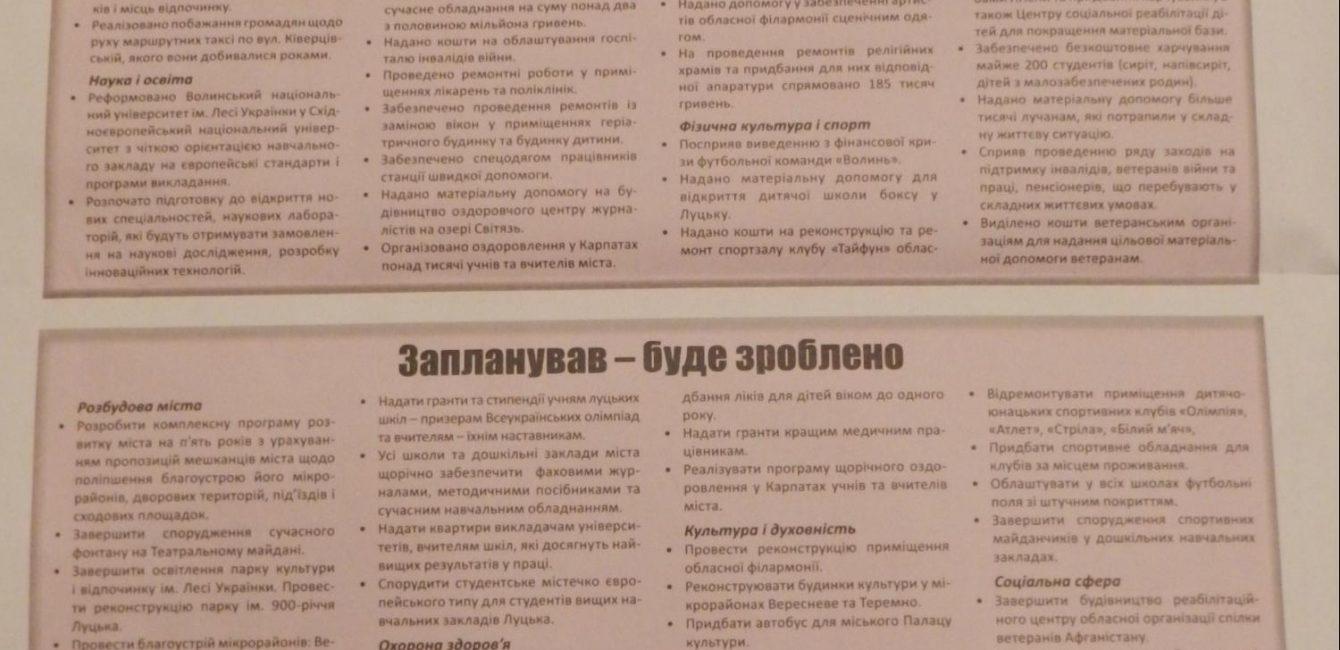 Передвиборча програма Ігор Палиця