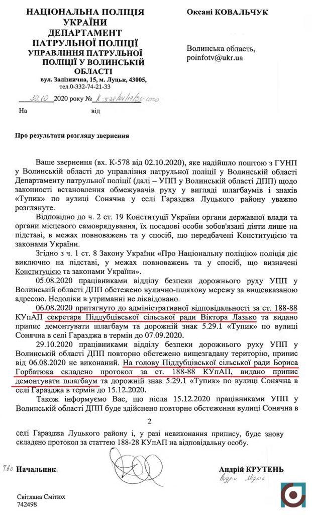поліція оштрафувала сільського голову через Олександра Кватирка